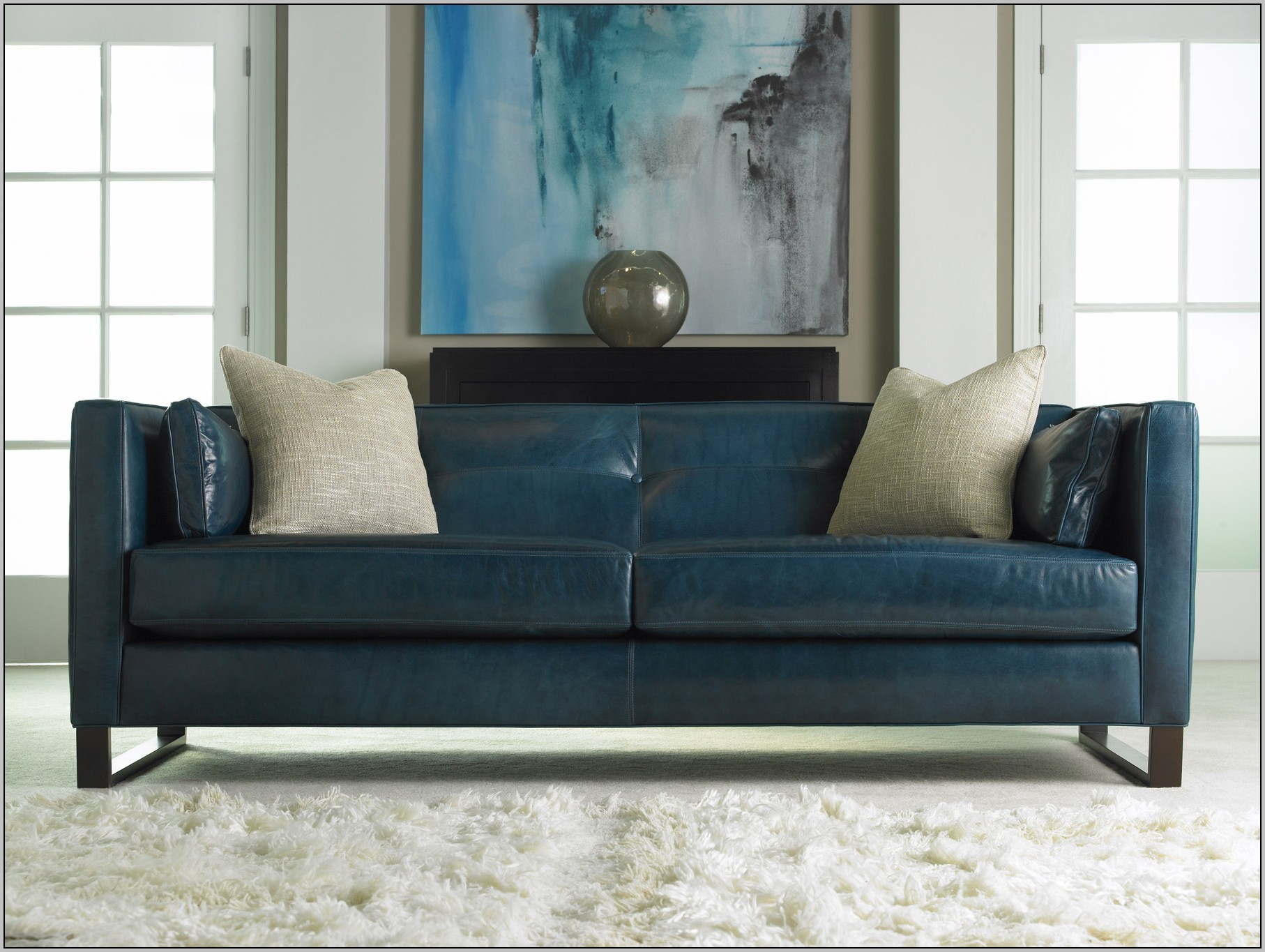 Awesome Blue Leather Sofa 81 In Living Room Sofa Inspiration with Blue Leather Sofa