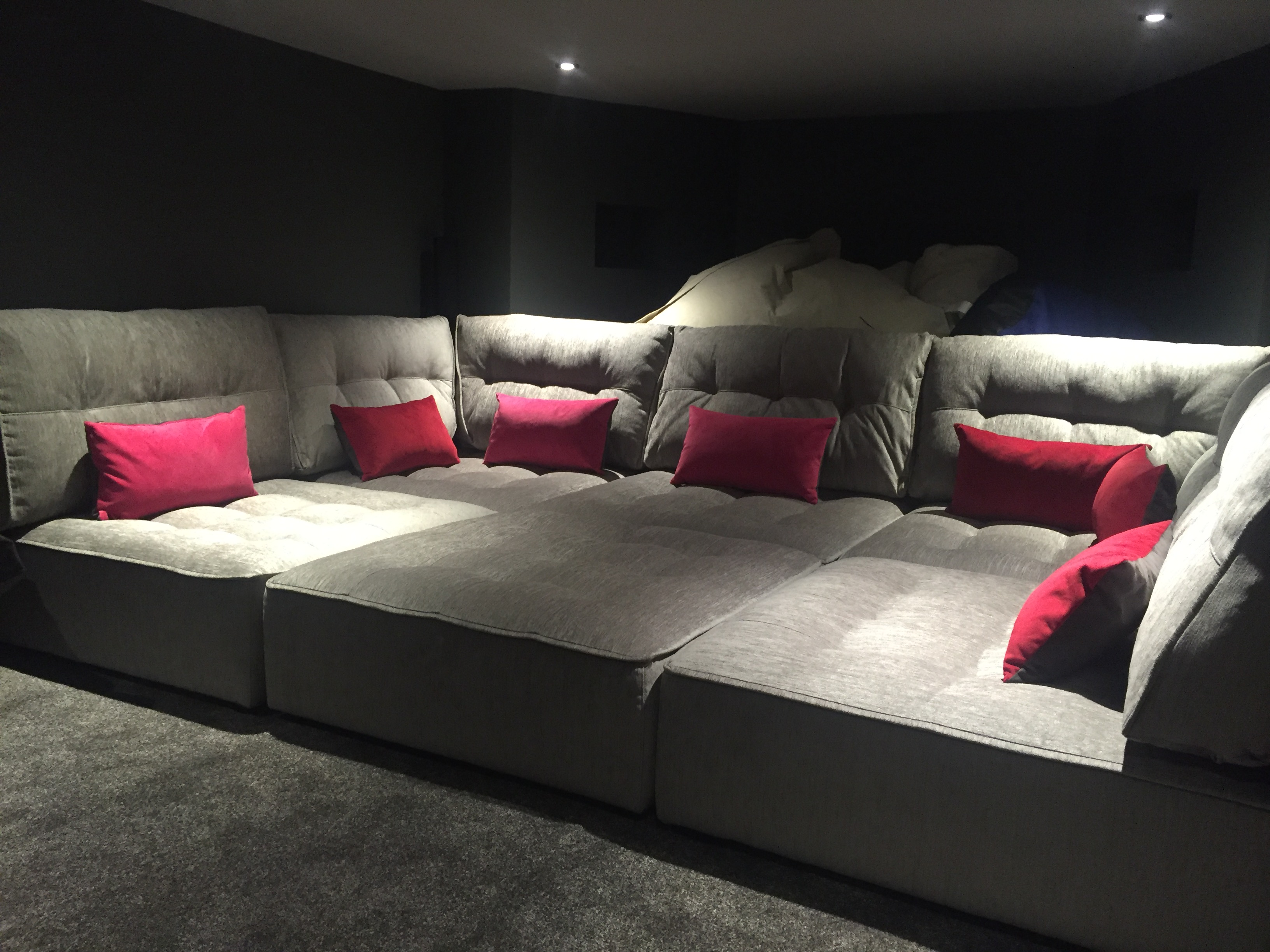 Movie pit sofa pit sectional contemporary media room alice for Media room sectional sofas