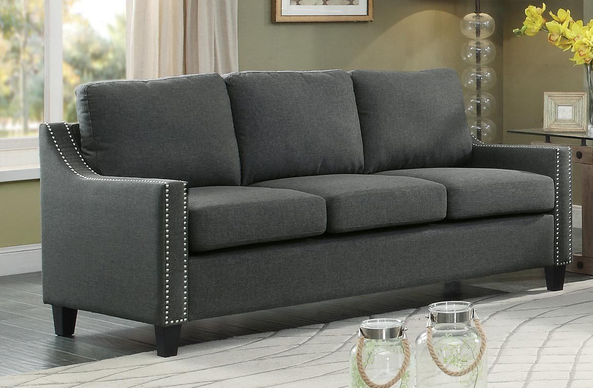 Good Gray Sofa With Nailhead Trim 84 For Your Sofas and Couches Ideas with Gray Sofa With Nailhead Trim