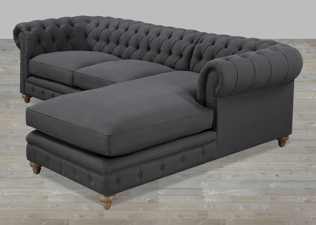 Tufted sofa sectional knightsbridge tufted scroll arm for Tufted couch set