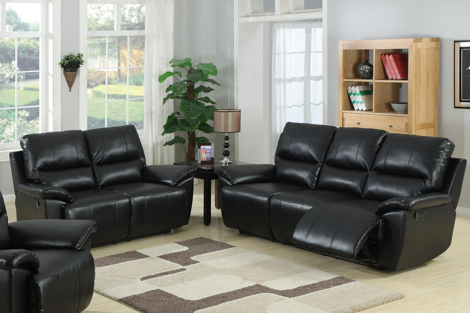 Black leather sofa set coaster samuel 3 piece leather sofa set in black 50168x 3pc pkg thesofa for Living room with black leather furniture