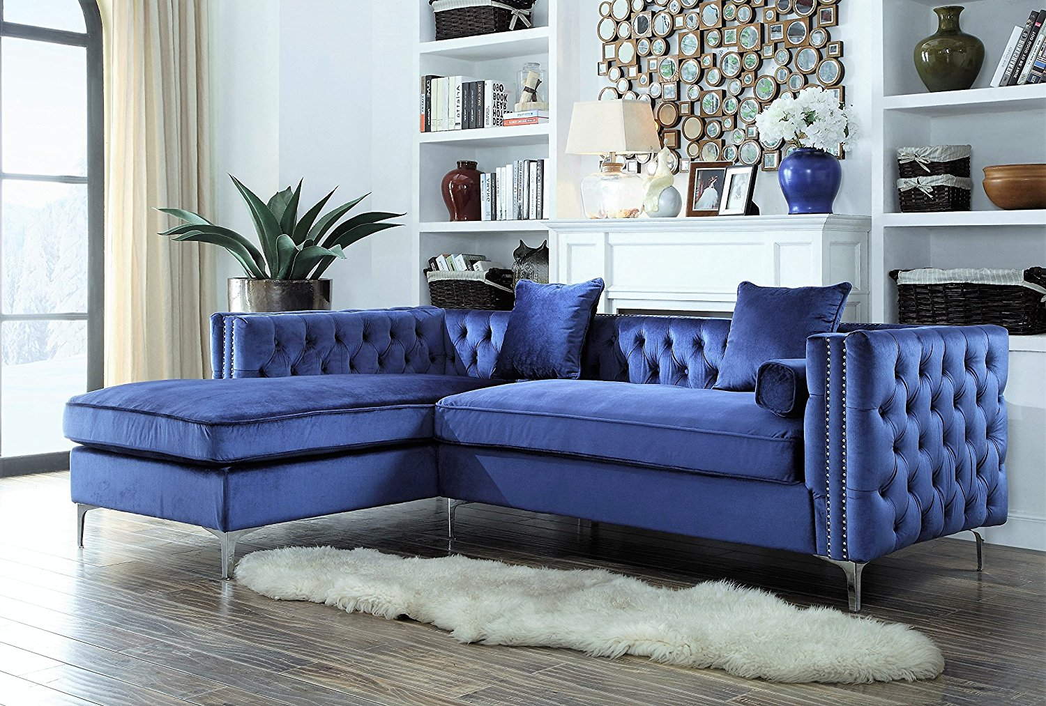 Fancy Navy Blue Velvet Sectional Sofa 71 For Your Living Room Sofa  Inspiration With Navy Blue ...