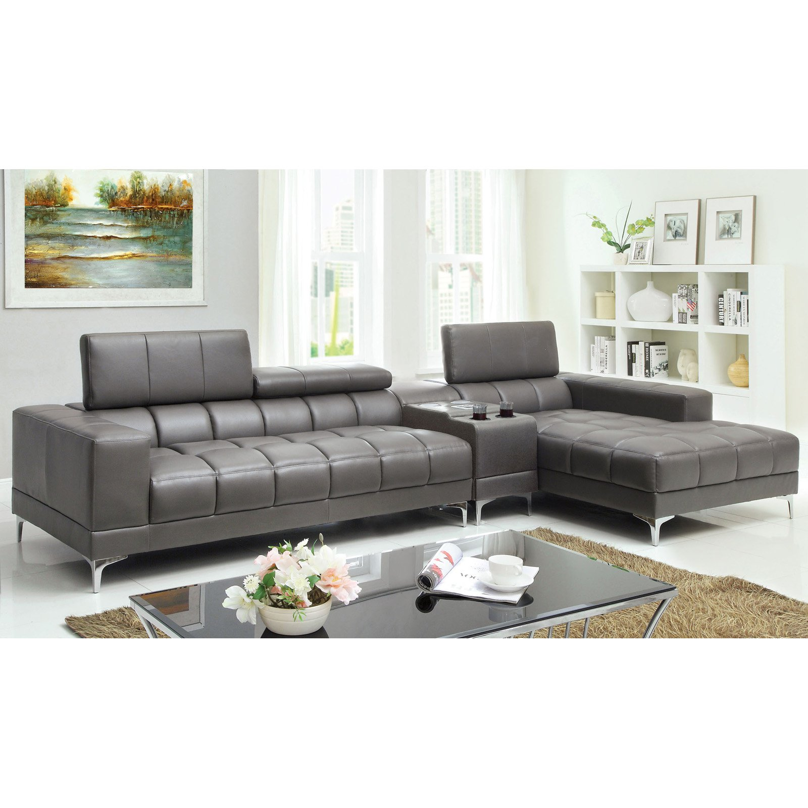 Inspirational Gray Leather Sectional Sofa 88 For Your Contemporary Sofa  Inspiration With Gray Leather Sectional Sofa
