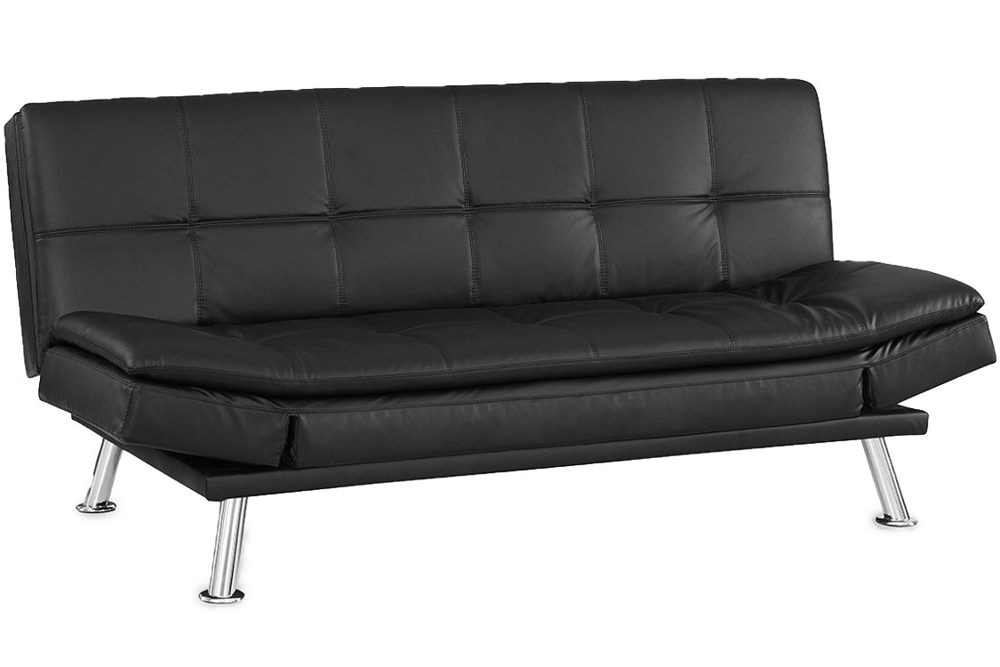 Magnificent Black Leather Futon Sofa Bed 26 With Additional Living Room Inspiration